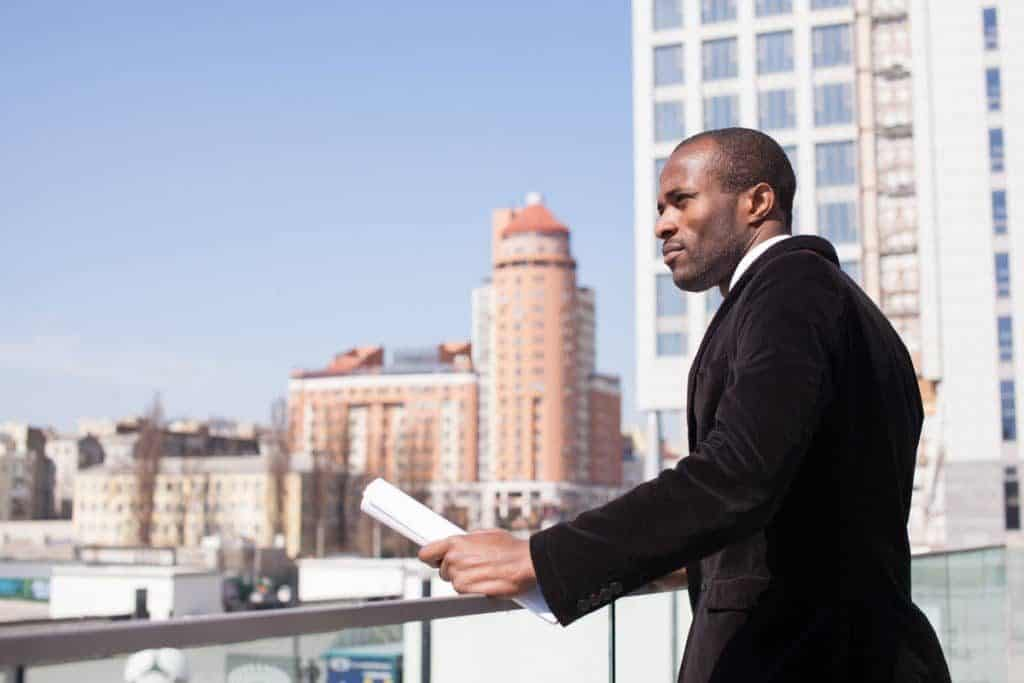 Commercial real estate agent inspecting site