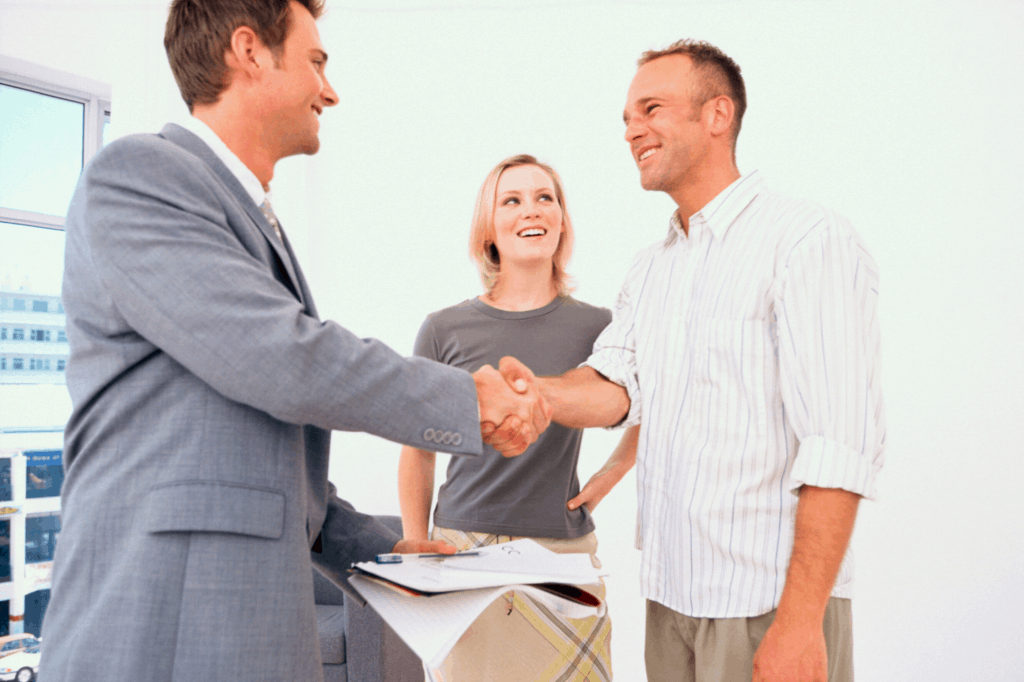 Washington real estate agent meeting clients