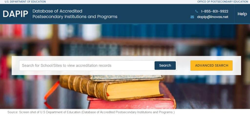 Database of Accredited Postsecondary Institutions and Programs