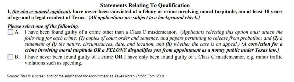 Application for Appointment as Texas Notary Public Form 2301