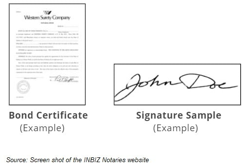 Indiana notary bond certificate and signature sample