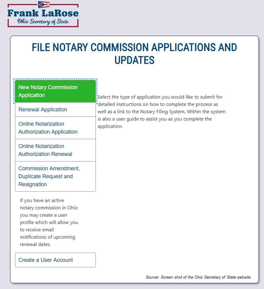 Submit the notary commission application to the Ohio Secretary of State