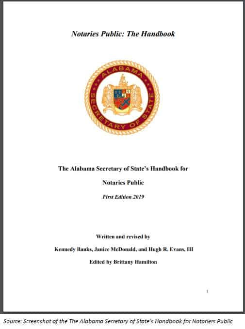 The Alabama Secretary of State's Handbook for Notaries Public