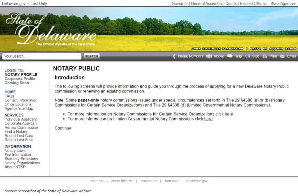 State of Delaware Notary Public website