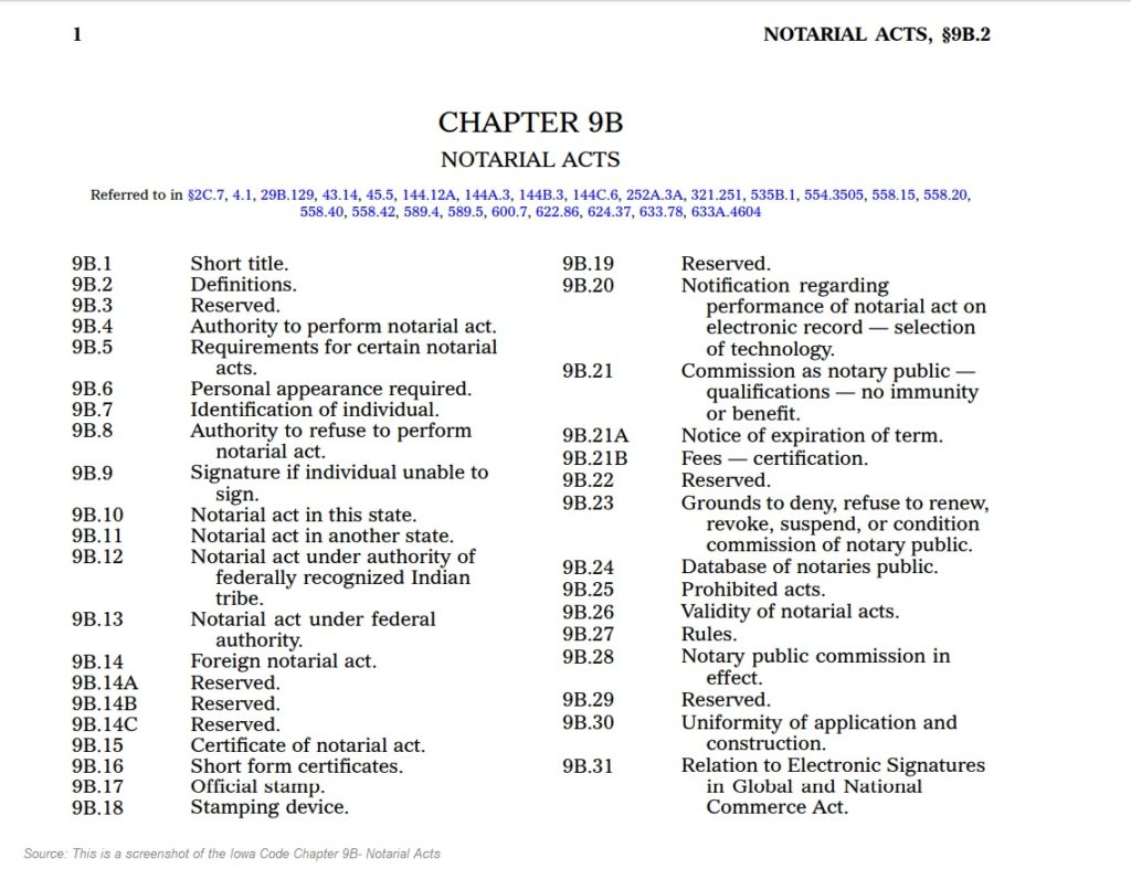 Iowa Code Chapter 9B Notarial Acts, Table of Contents