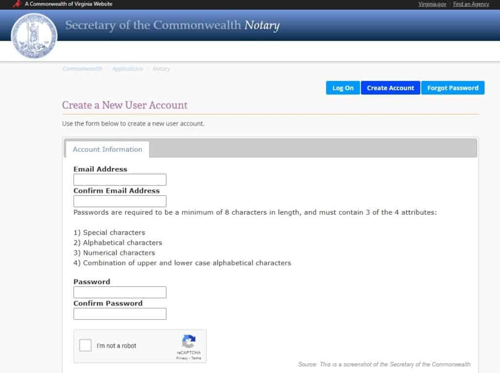 Submit a notary application to the VA Secretary of the Commonwealth