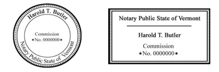 Vermont Notary Stamp Samples