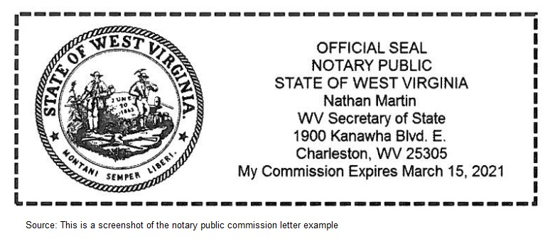 West Virginia Notary Public Seal Sample