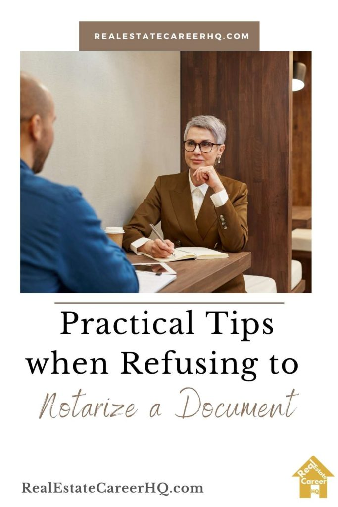 Tips for refusing to perform a notarization