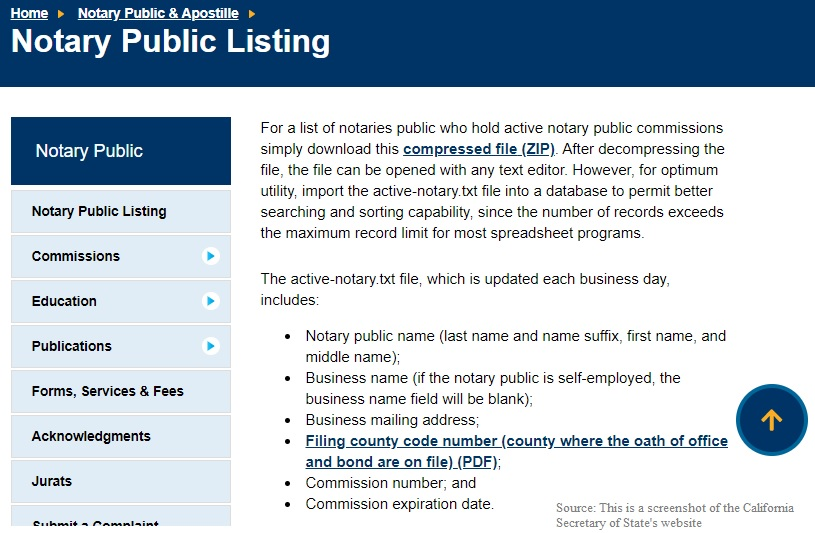 Mark Wills Notary Public Listing on California Secretary of State