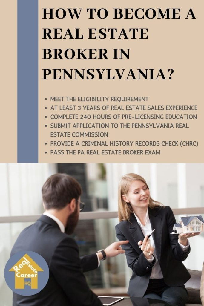 Requirement to become a real estate broker in Pennsylvania