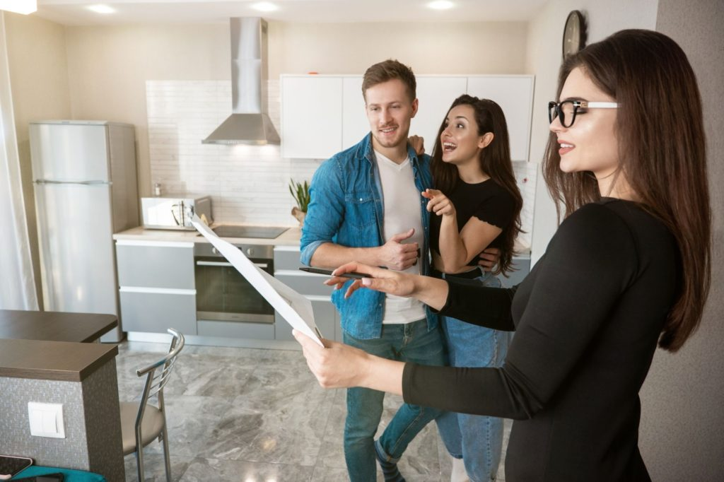 Property manager working on site with tenants